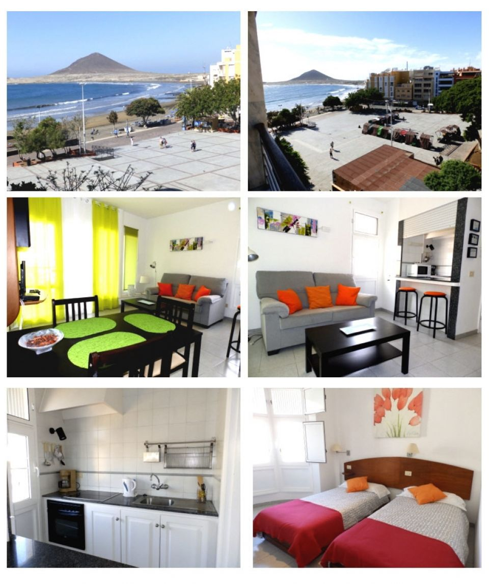 Holiday apartment on the square in El Médano, Tenerife with seaview